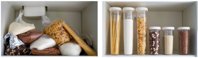 kitchen cabinet collage before and after organization