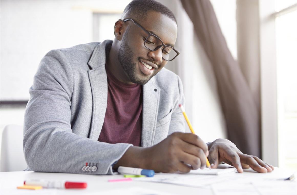 male dark skinned entrepreneur