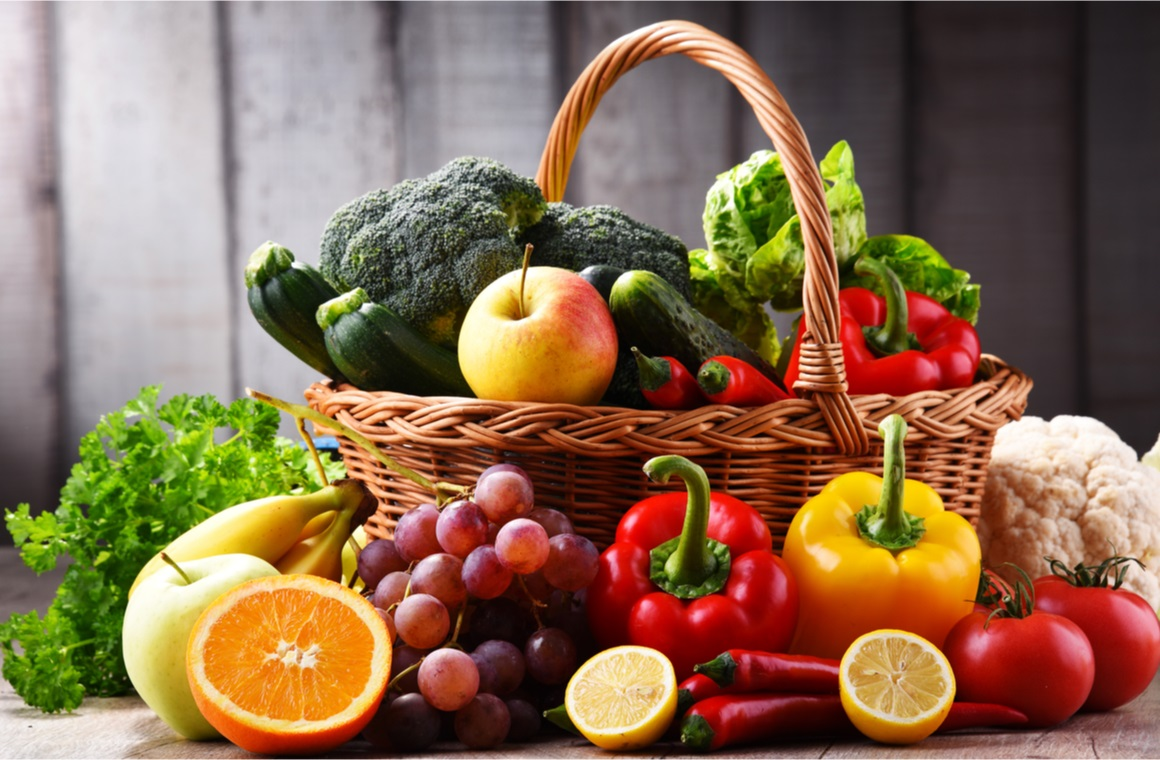 assorted organic vegetables and fruits