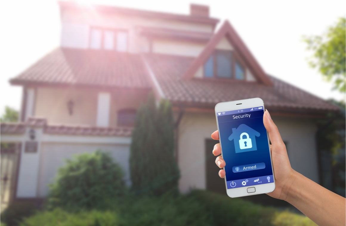 smartphone with home security app