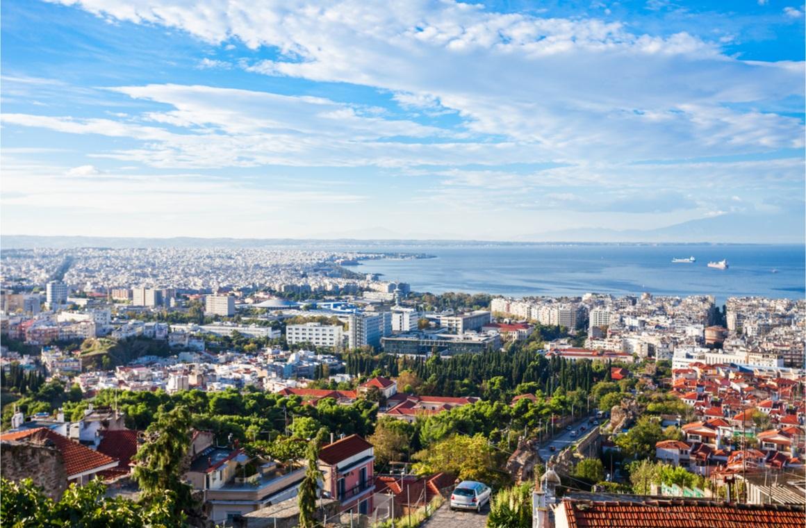 thessaloniki aerial panoramic view