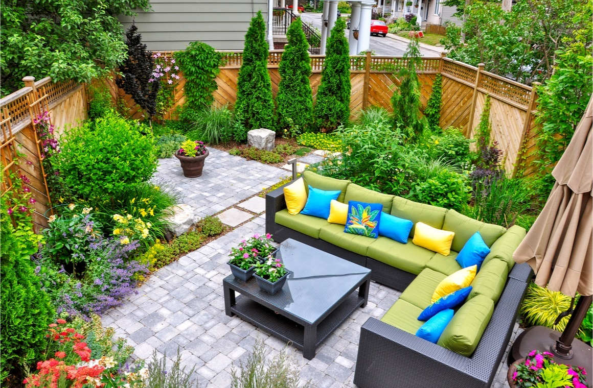 beautiful small urban backyard garden featuring