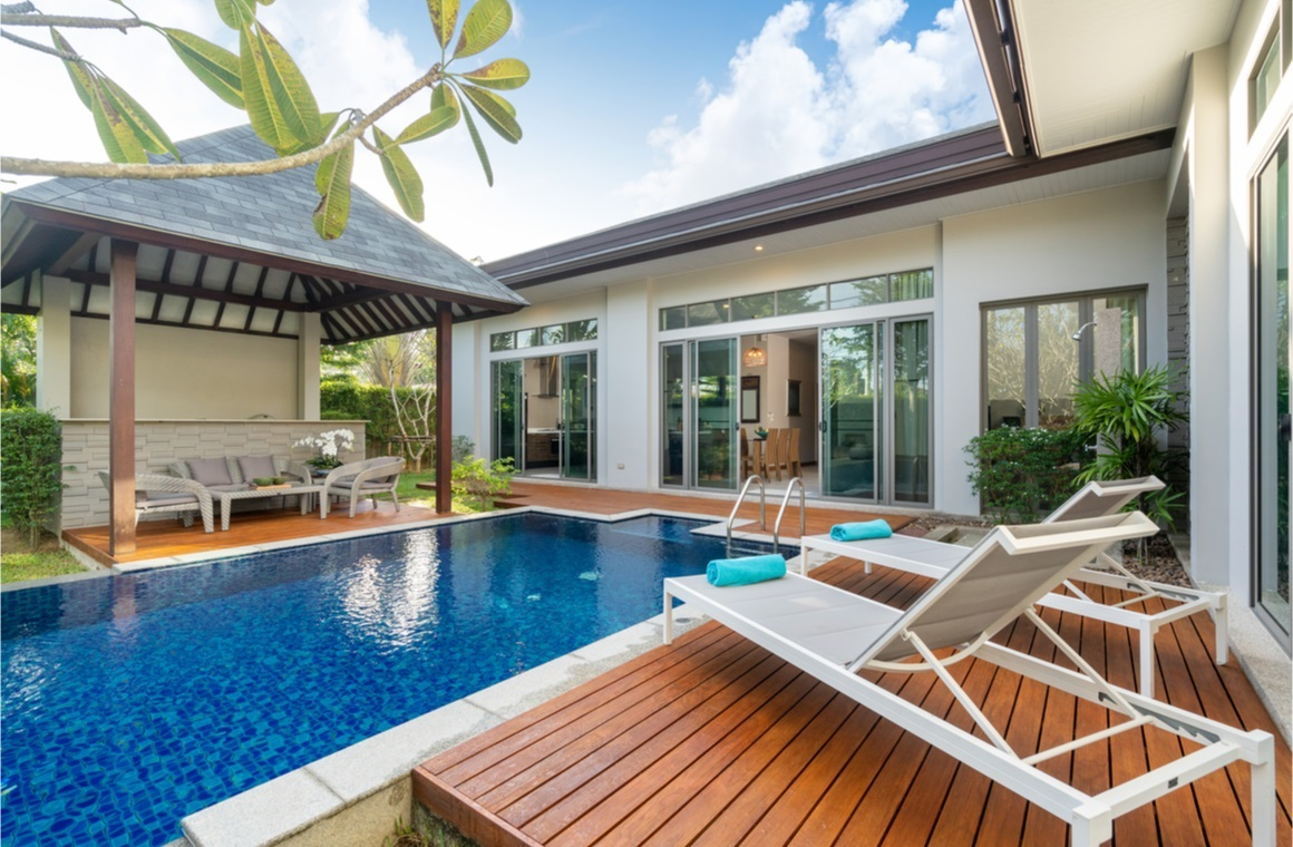 luxury swimming pool and pavilion