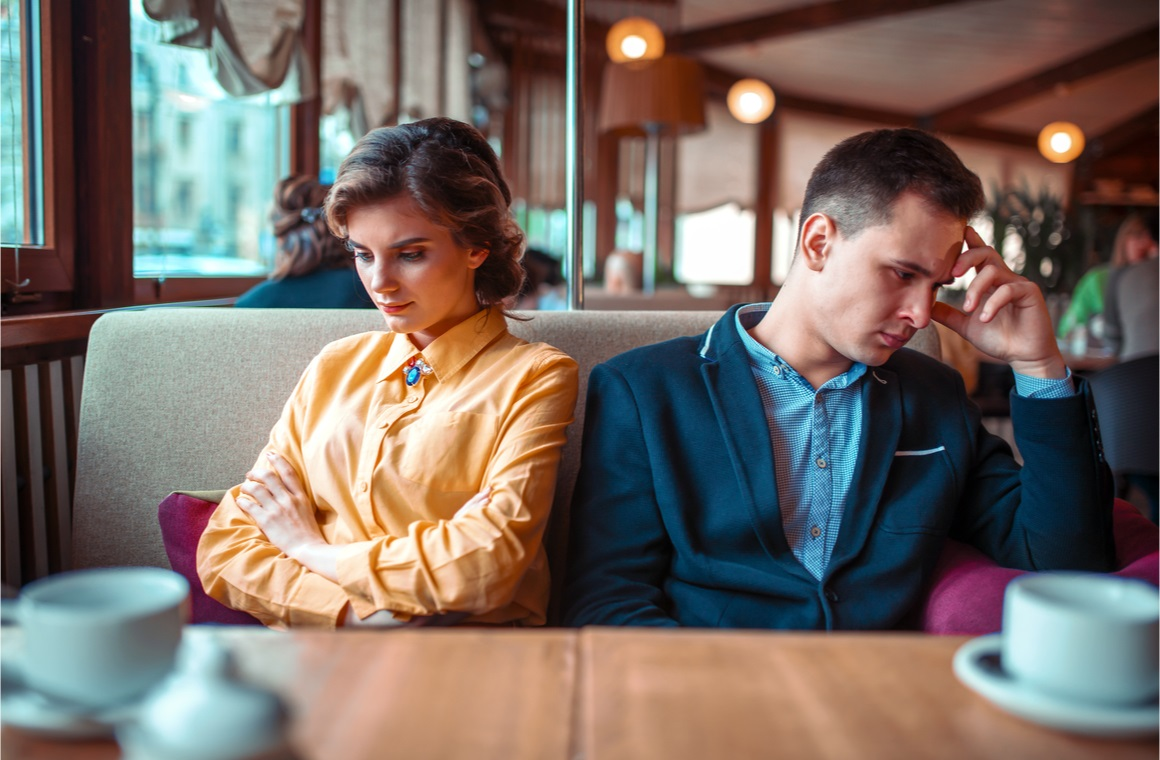 couple in a bad mood sitting