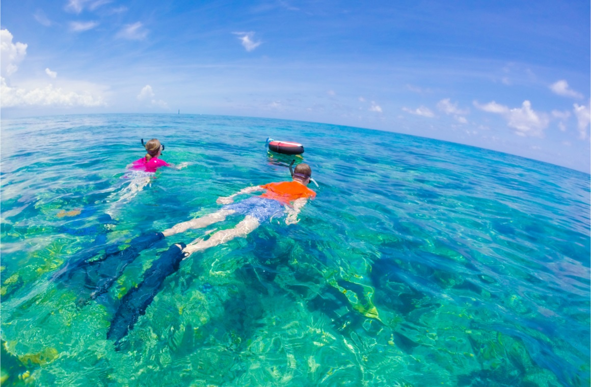 People snorkeling in perfectly clear water