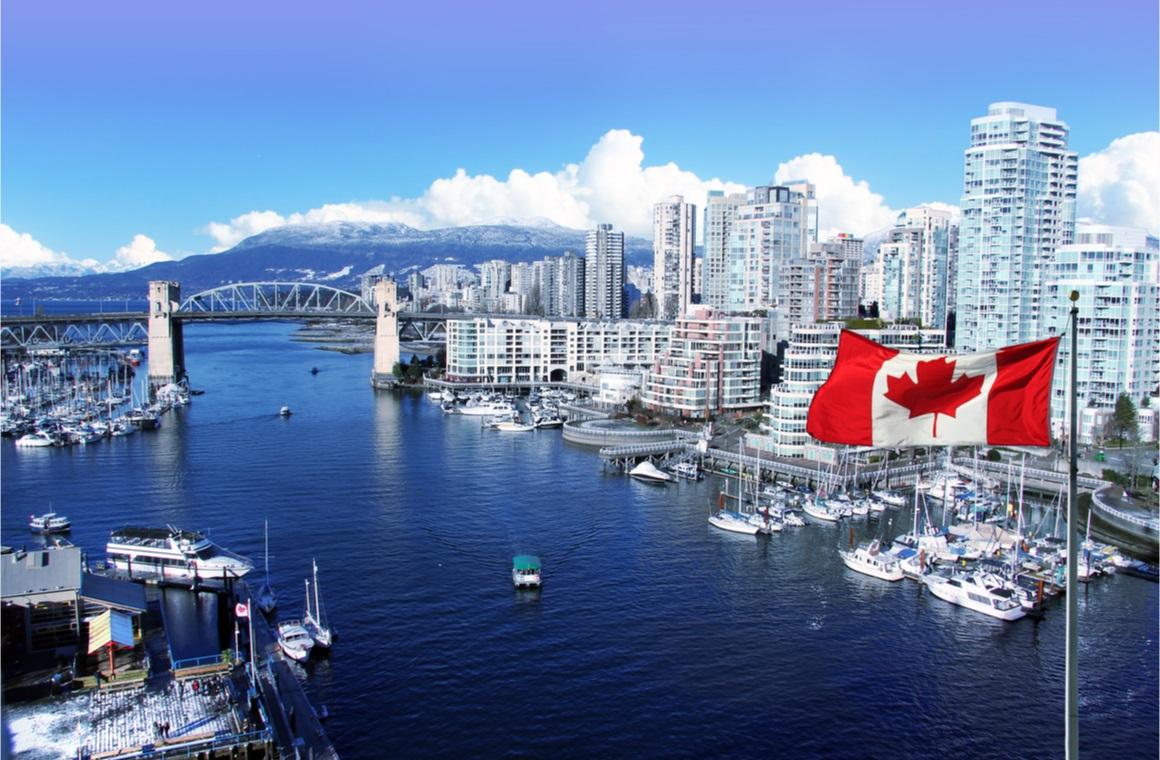 canadian flag front view false creek
