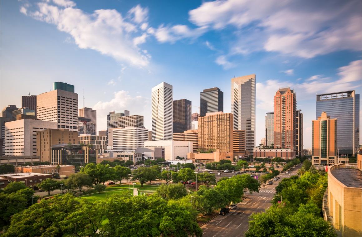 houston texas usa downtown city park and skyline