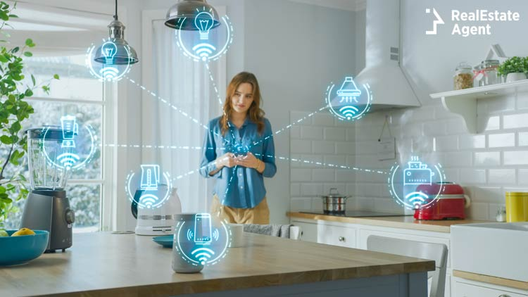 Internet Things concept Young Woman Using