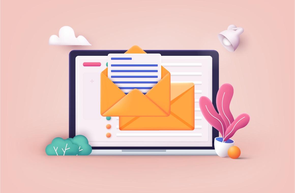 mail service concept laptop open pages