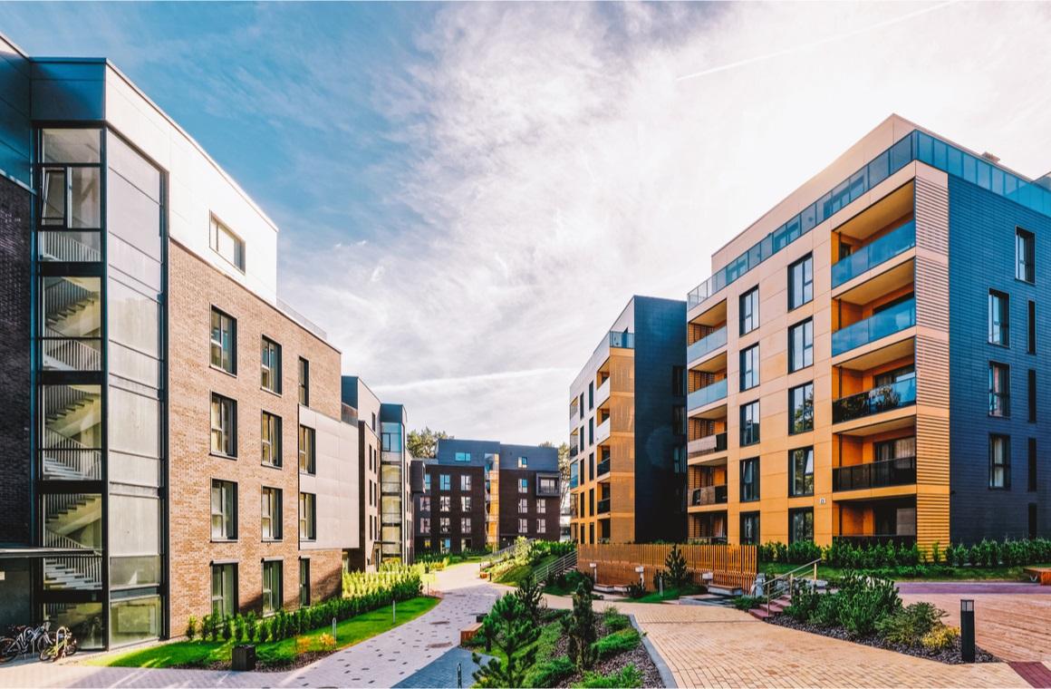 modern european complex of apartment buildings
