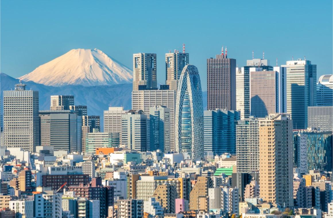 tokyo skyline mountain fuji japan
