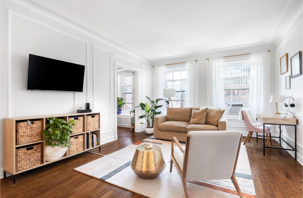 living room in a downtown condo with cozy furniture