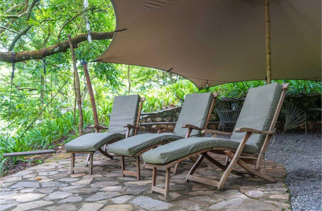 Three cozy sun loungers