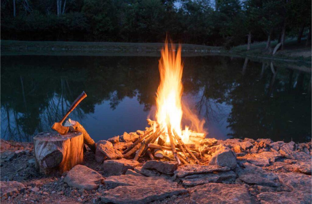 Flame fire pit rocks