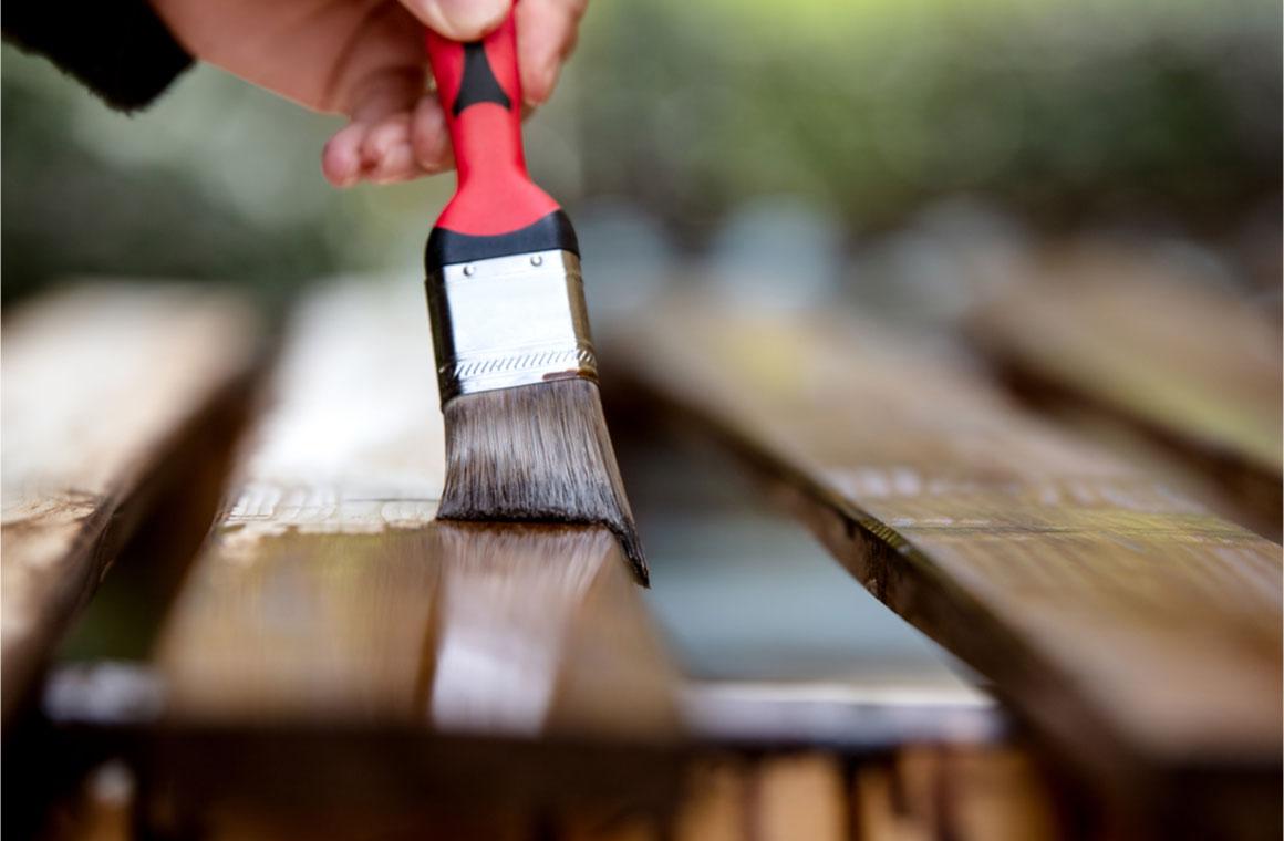 closeup paintbrush wooden